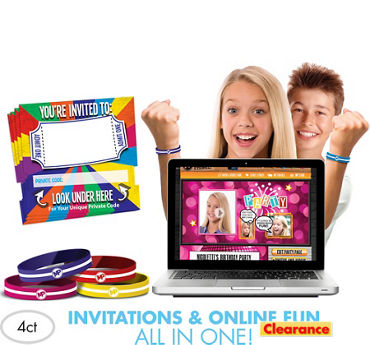 Neon Invite Bandz Party Invitation Wristbands Add-On Pack for 4