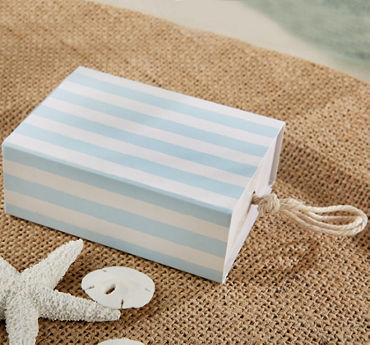 Blue & White Striped Drawer Favor Boxes