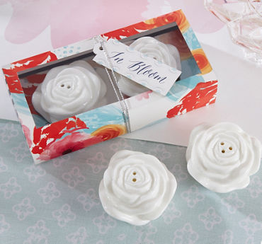 White Rose Salt & Pepper Shakers