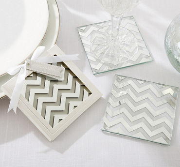 Silver Chevron Glass Coasters