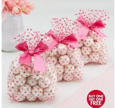 Bright Pink Polka Dot Treat Bags with Bows 12ct