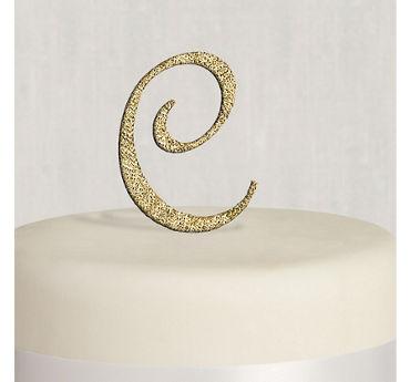 Rhinestone Gold Monogram C Cake Topper