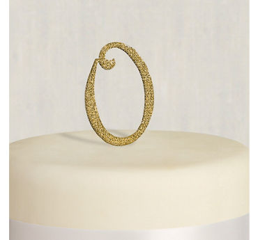Rhinestone Gold Monogram O Cake Topper