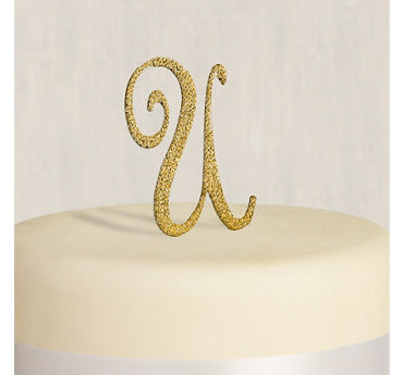 Rhinestone Gold Monogram U Cake Topper
