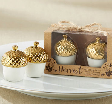 Metallic Gold Acorn Salt & Pepper Shakers