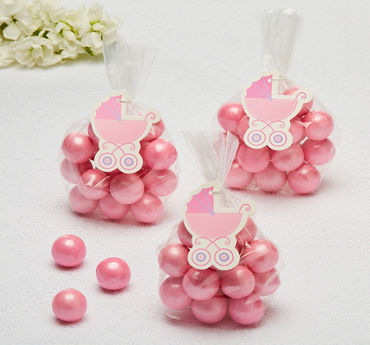 Pink Stroller Baby Shower Favor Tags 25ct