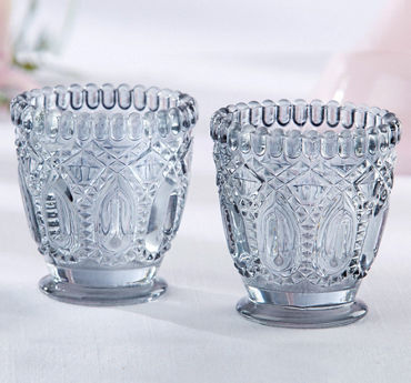 Gray Crystal-Cut Footed Votive Candle Holders