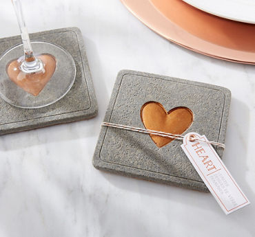 Copper Heart Concrete Coaster