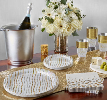 Metallic Silver & Gold Wavy Dots Bridal Shower Party Supplies