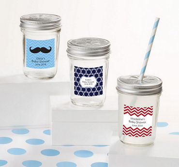 Baby Boy Personalized Baby Shower Mason Jars with Daisy Lids (Printed Label)