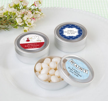Baby Boy Personalized Baby Shower Round Candy Tins - Silver (Printed Label)