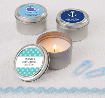 Personalized Baby Shower Candle Tins