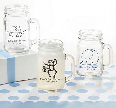 Baby Boy Personalized Baby Shower Mason Jar Mugs (Printed Glass)