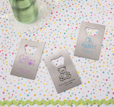 Gender Neutral Personalized Baby Shower Credit Card Bottle Openers - Silver (Printed Metal)
