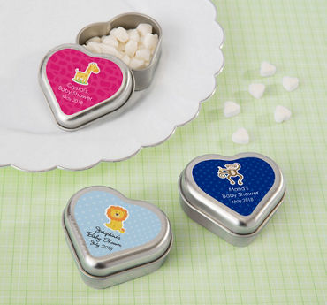 Gender Neutral Personalized Baby Shower Heart-Shaped Mint Tins with Candy (Printed Label)