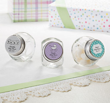 Gender Neutral Personalized Baby Shower Glass Candy Jars (Printed Label)