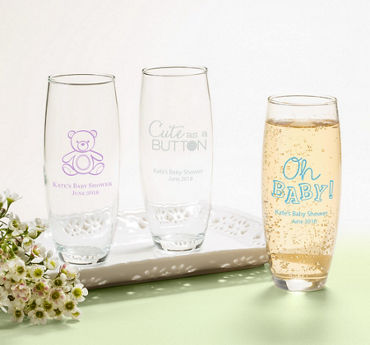 Gender Neutral Personalized Baby Shower Stemless Champagne Flutes (Printed Glass)