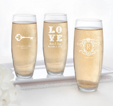 Personalized Stemless Champagne Flutes (Printed Glass)