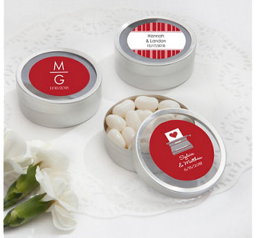 Personalized Round Candy Tins - Silver (Printed Label)