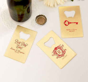 Personalized Credit Card Bottle Openers - Gold (Printed Metal)