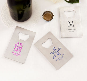 Personalized Credit Card Bottle Openers - Silver (Printed Metal)