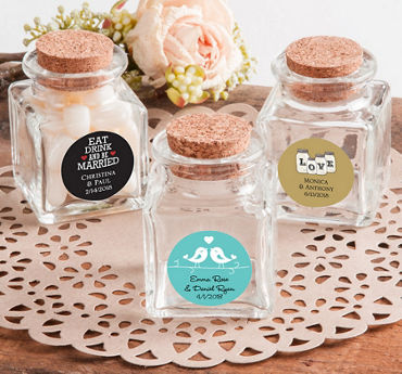 Personalized Small Glass Bottles with Corks (Printed Label)