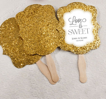 Personalized Gold Glitter Wedding Fans (Printed Label)