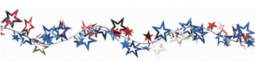 Patriotic Jumbo Stars Wire Holiday Garland 12ft