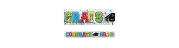 Foil Colorful Graduation Fringed Banner 5ft