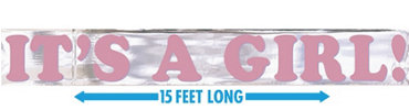 It's a Girl Metallic Baby Shower Banner 15ft