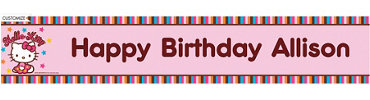 Hello Kitty Balloon Custom Birthday Banner
