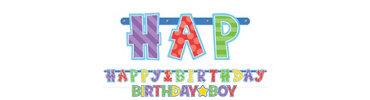 Boy 1st Birthday Letter Banner Combo Pack 2ct