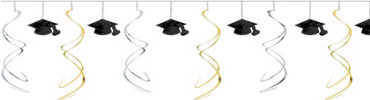 Black, Silver & Gold Swirl Graduation Garland 12ft