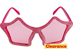 Glitter Pink Star Glasses