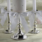 Silver Wedding Unity Candle Holder 3ct