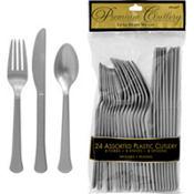 Silver Premium Plastic Cutlery Set 24ct