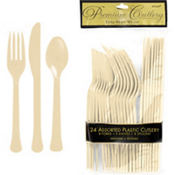 Vanilla Cream Premium Plastic Cutlery Set 24ct