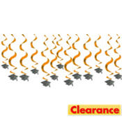 Orange Hanging Swirl Graduation Decorations 24in 15ct