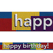 Multicolored Happy Birthday Fringed Banner 5ft