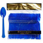 Royal Blue Premium Plastic Spoons 48ct