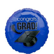 Foil Royal Blue Congrats Grad Graduation Balloon 18in