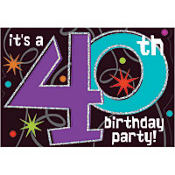 The Party Continues 40th Birthday Invitations 8ct