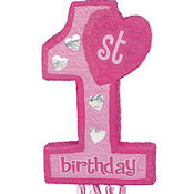 Pull String Pink 1st Birthday Pinata