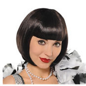 Flirty Black Flapper Wig