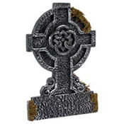 Mossy Celtic Cross Tombstone Decoration 22in