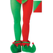 Adult Red & Green Elf Tights