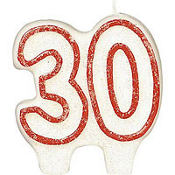 Glitter Red Outline Number 30 Birthday Candle