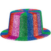 Multi Colored Glitter Top Hat 4 1/2in