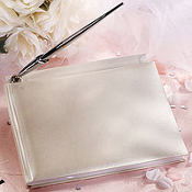 Pearl White Wedding Guest Book
