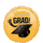 Foil Gold Congrats Grad Graduation Balloon 18in